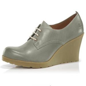 Dr. Marten's Mimi Taupe Wedge Lace Up Boot Heels